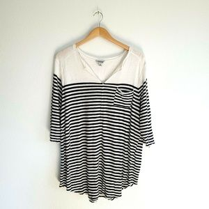 Lucky Brand Striped Linen Knit Top Plus Size 1X